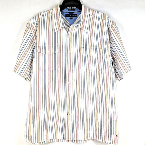 ed2a17023 Tommy Hilfiger Shirts | 80s 2 Ply Fabric Shirt Button Up Xl | Poshmark